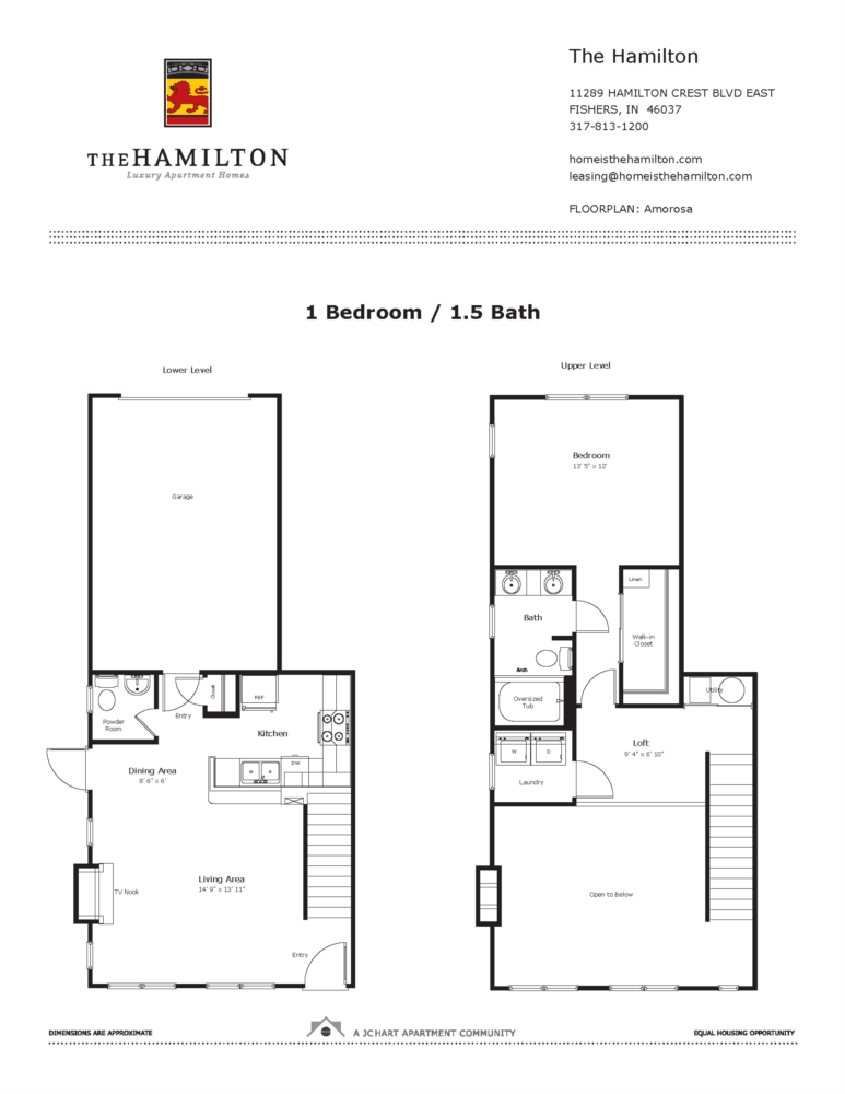 Amorosa 1 Bedroom Floor Plan | The Hamilton Luxury Apartment Homes