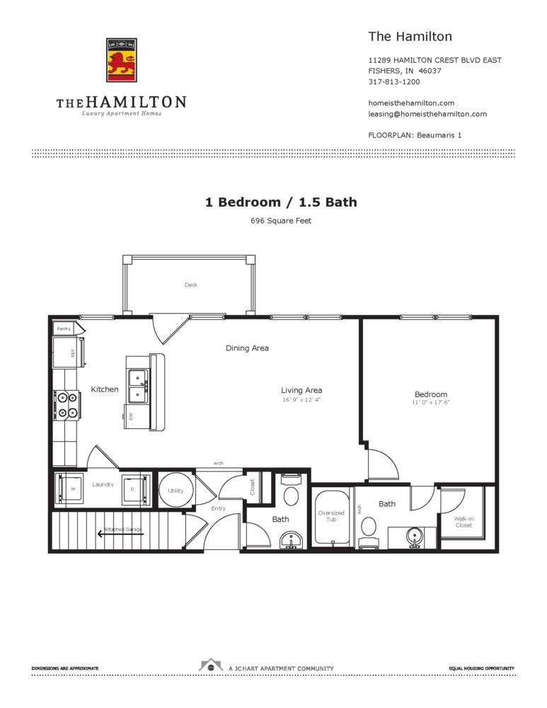 Beaumaris 1 Bedroom Floor Plan The Hamilton Luxury Apartment Homes